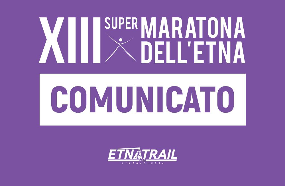XIII Supermaratona dell'Etna – Comunicato