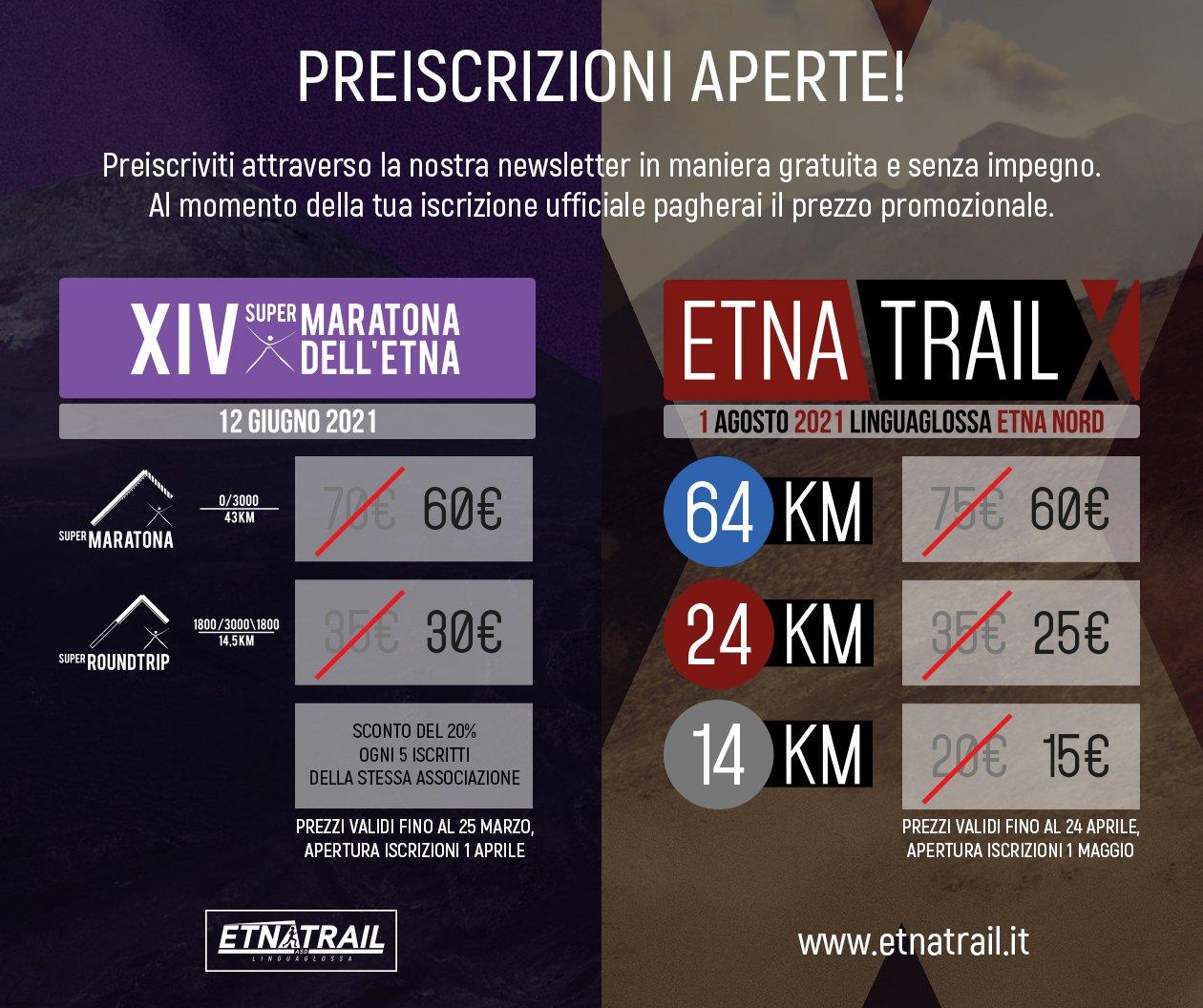 Preiscrizioni aperte per SuperMaratona dell'Etna e Etna Trail 2021